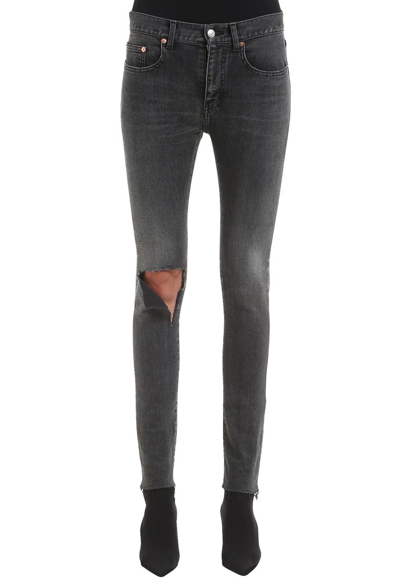 Balenciaga Skinny Raw Cut Cotton Denim Jeans