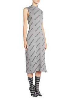 Balenciaga Sleeveless Mockneck Logo Dress