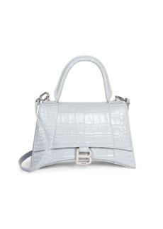 Balenciaga Small Hour Croc-Embossed Leather Top Handle Bag