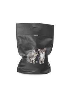 Balenciaga Small Plastic Bag Cats Leather Shopper