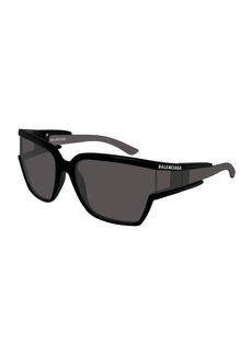 Balenciaga Soft Mask Monochromatic Wrap Square Sunglasses