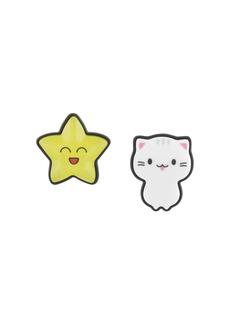 Balenciaga Sticker cat and star earrings