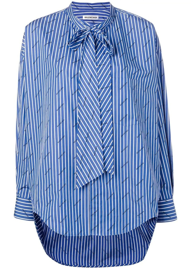Balenciaga striped logo swing shirt
