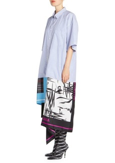 Balenciaga Striped Poplin Mixed-Scarf Shirtdress