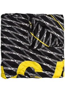 Balenciaga striped yellow logo silk scarf