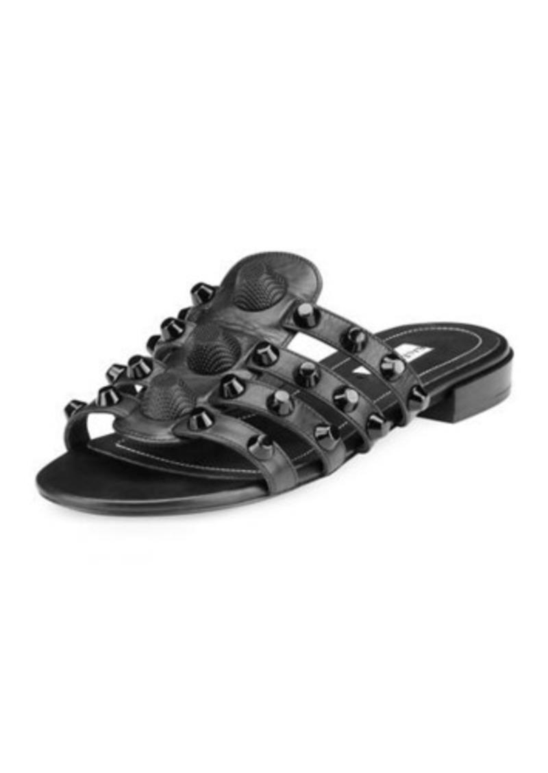 028a7d62c17 Balenciaga Studded Caged Flat Slide Sandals