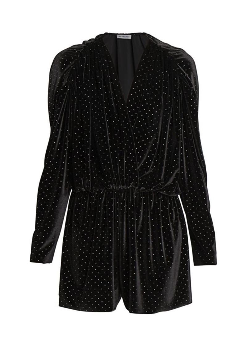 Balenciaga Studded Draped Velvet Romper