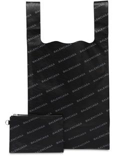 Balenciaga Supermarket Logo Printed Leather Bag