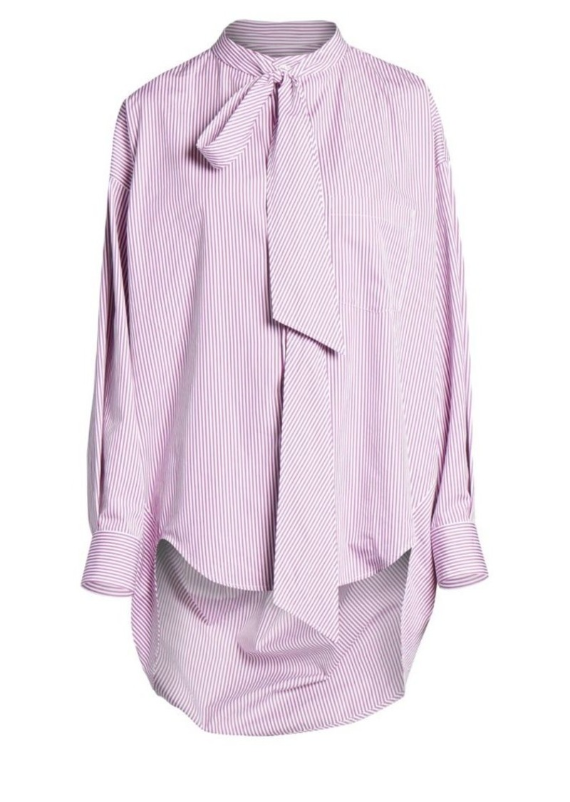 Balenciaga Swing Tieneck High-Low Pinstripe Shirt