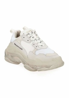 Balenciaga Triple S Air Nylon Sneakers with Logo  Blanc