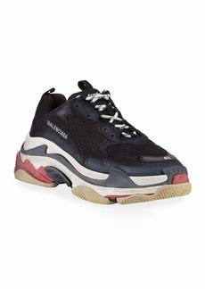 Balenciaga Triple S Mesh & Leather Trainer Sneaker  Noir