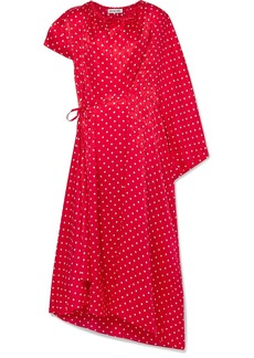 Balenciaga Typo Draped Asymmetric Polka-dot Silk Satin-jacquard Midi Dress