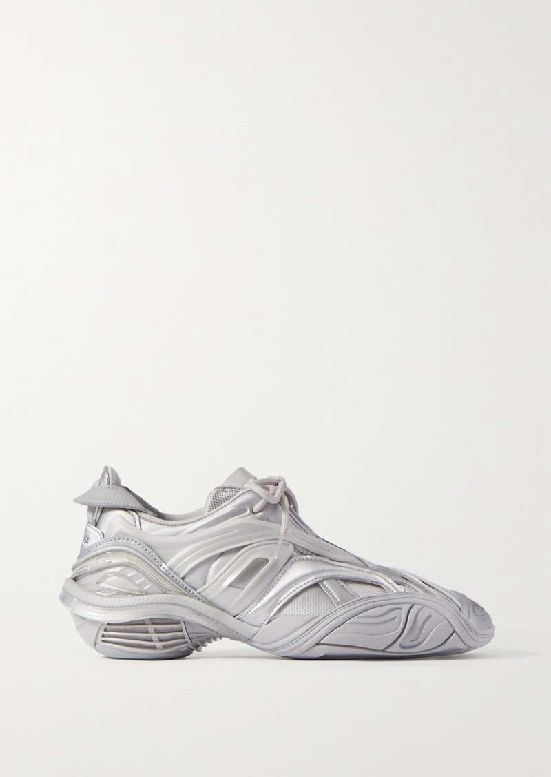 Balenciaga Tyrex Logo-print Metallic Rubber, Mesh And Faux Leather Sneakers