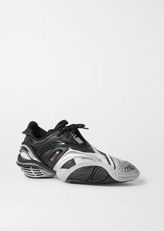 Balenciaga Tyrex Logo-print Metallic Rubber Mesh And Faux Leather Sneakers