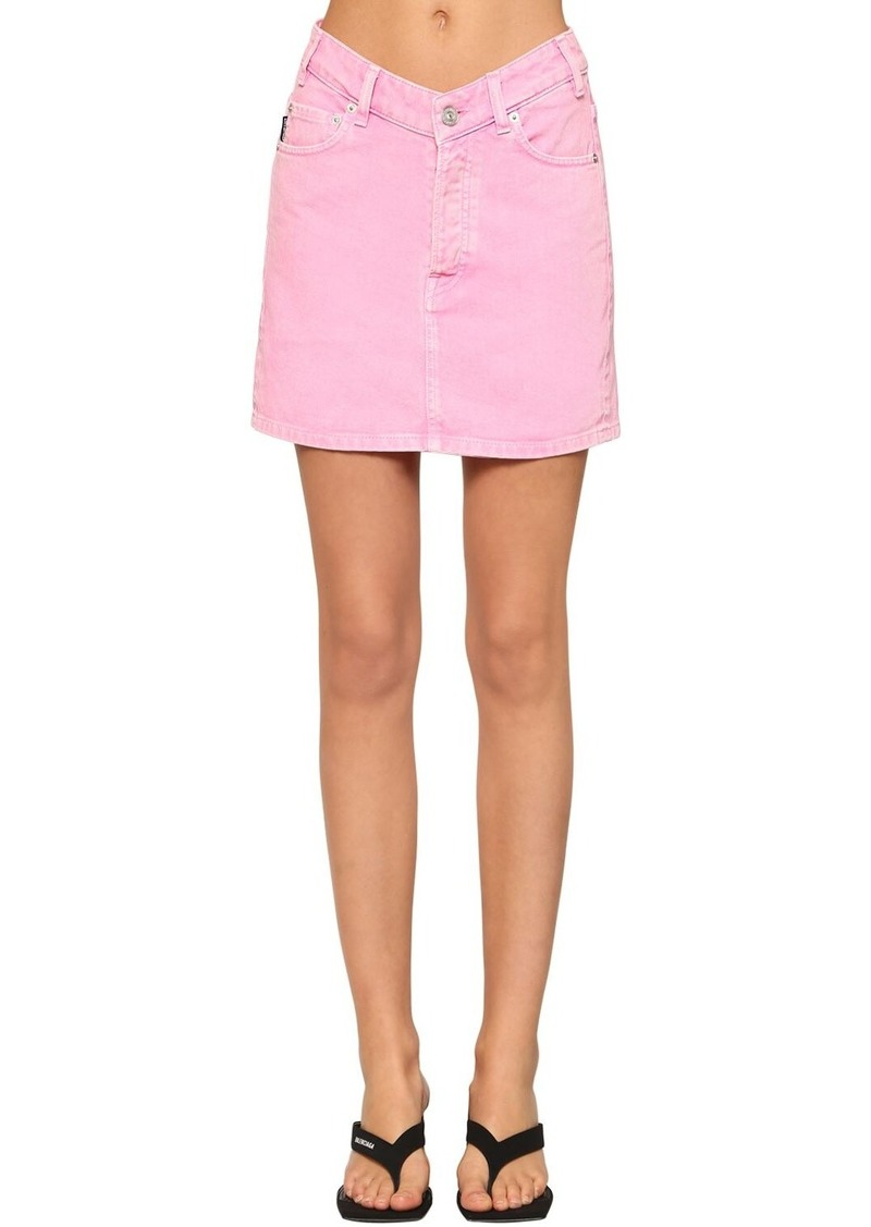 Balenciaga V Waist Cotton Denim Mini Skirt