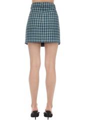 Balenciaga V-waist Wool Tweed Mini Skirt