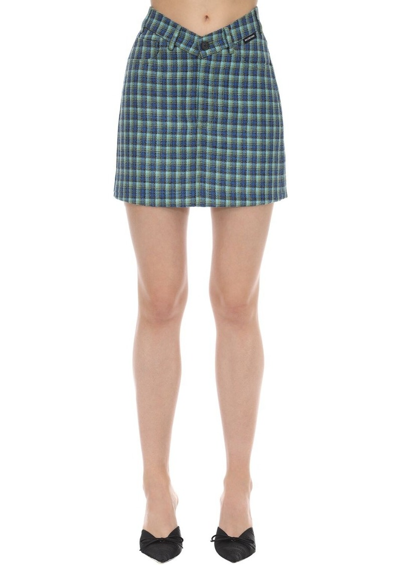 Balenciaga V-waist Wool Tweed Mini Skirt