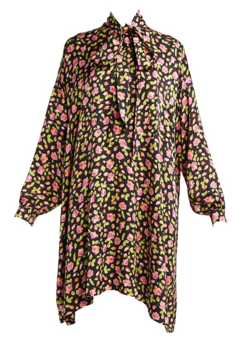 Balenciaga Vareuse Floral Tieneck Shift Dress