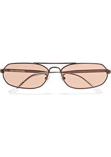 Balenciaga Agent Oval-frame Metal Sunglasses