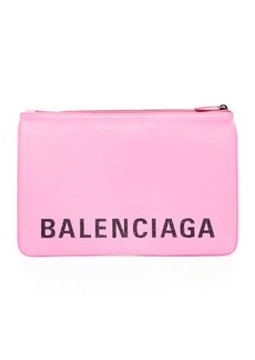Balenciaga Ville Medium Leather Logo Pouch Bag