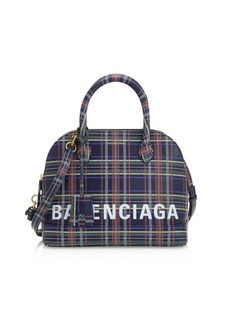 Balenciaga Small Ville Plaid Bowling Bag