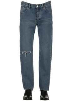 Balenciaga Washed Destroyed Cotton Denim Jeans