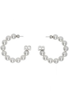 Balenciaga White Pearl Hoop Earrings