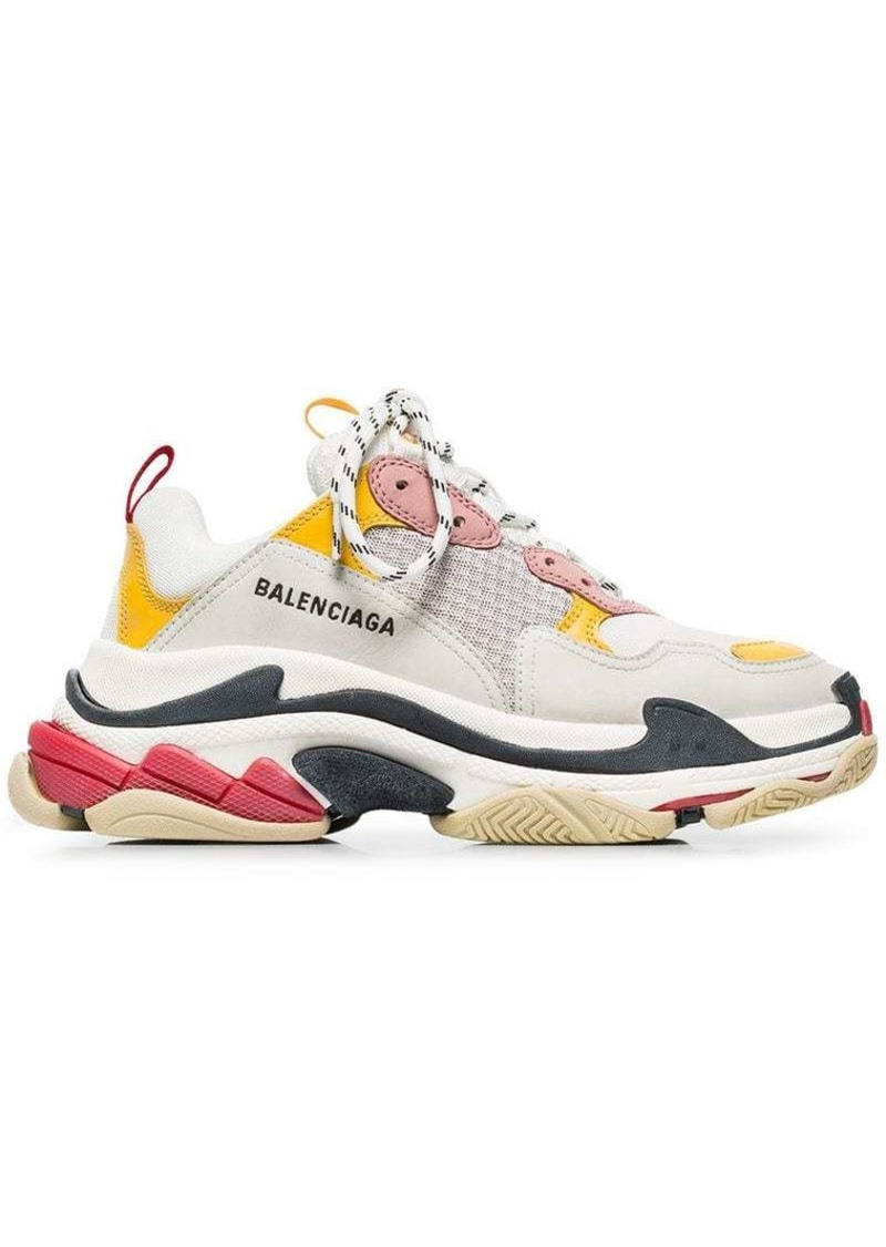 white, pink and yellow triple s leather sneakers