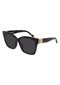 Women's Balenciaga 57mm Square Sunglasses - Shiny Dark Havana/ Green