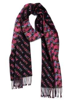 Women's Balenciaga Logo Tartan Reversible Wool Scarf