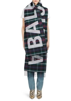 Balenciaga Wool Flannel Plaid Logo Scarf