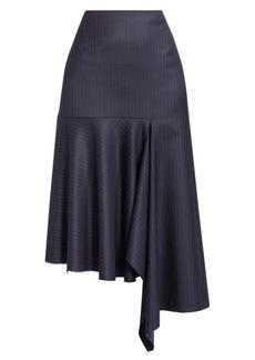 Balenciaga Wool Pinstripe Asymmetric Skirt