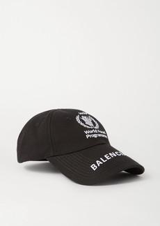 Balenciaga World Food Program Embroidered Cotton-twill Baseball Cap