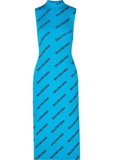 Balenciaga Wrap-effect Printed Ribbed-knit Midi Dress