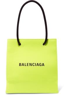 Balenciaga Xxs Printed Neon Textured-leather Tote