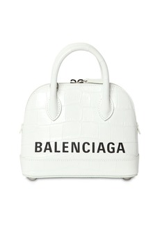Balenciaga Xxs Ville Croc Embossed Leather Bag