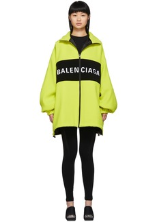Balenciaga Yellow Wool Logo Zip-Up Jacket
