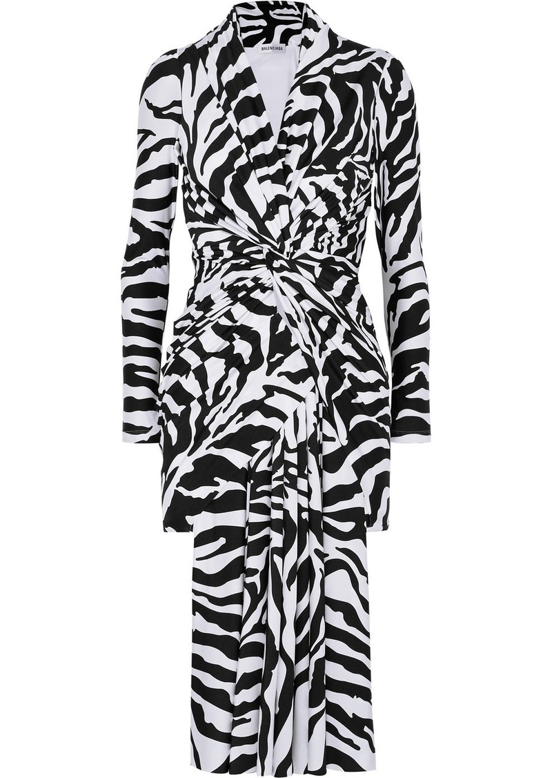 Balenciaga Zebra-print Stretch-satin Dress