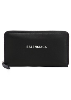 Balenciaga Zip Round Leather Wallet