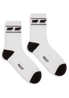 Bally Animal Intarsia Crew Socks