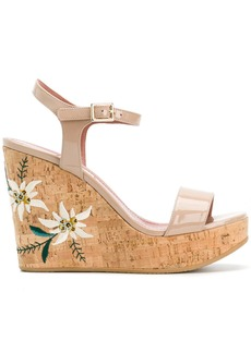 Bally Caelie embroidered wedge sandals - Nude & Neutrals