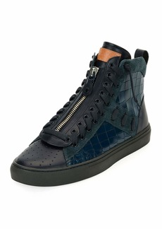 Bally Men's Hekem Croc-Embossed Leather High-Top Sneakers