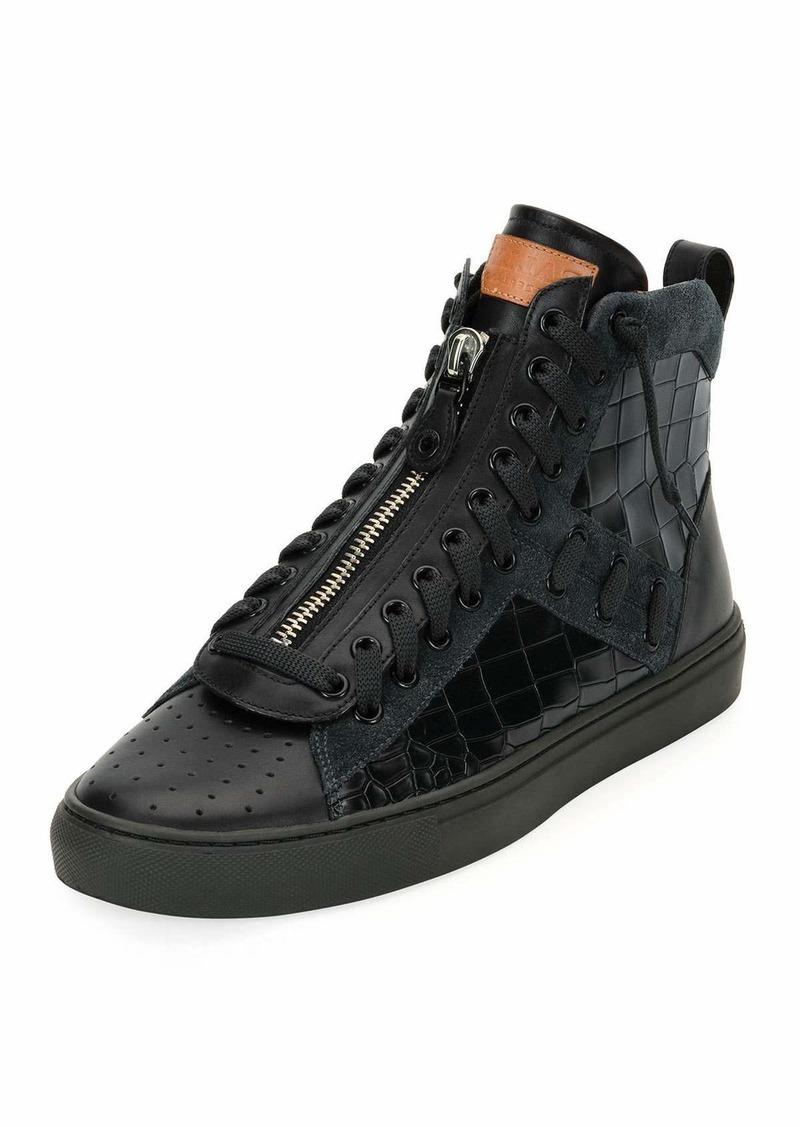 BallyHekem Croc-Embossed Leather Hi-Top Sneakers sUFkE