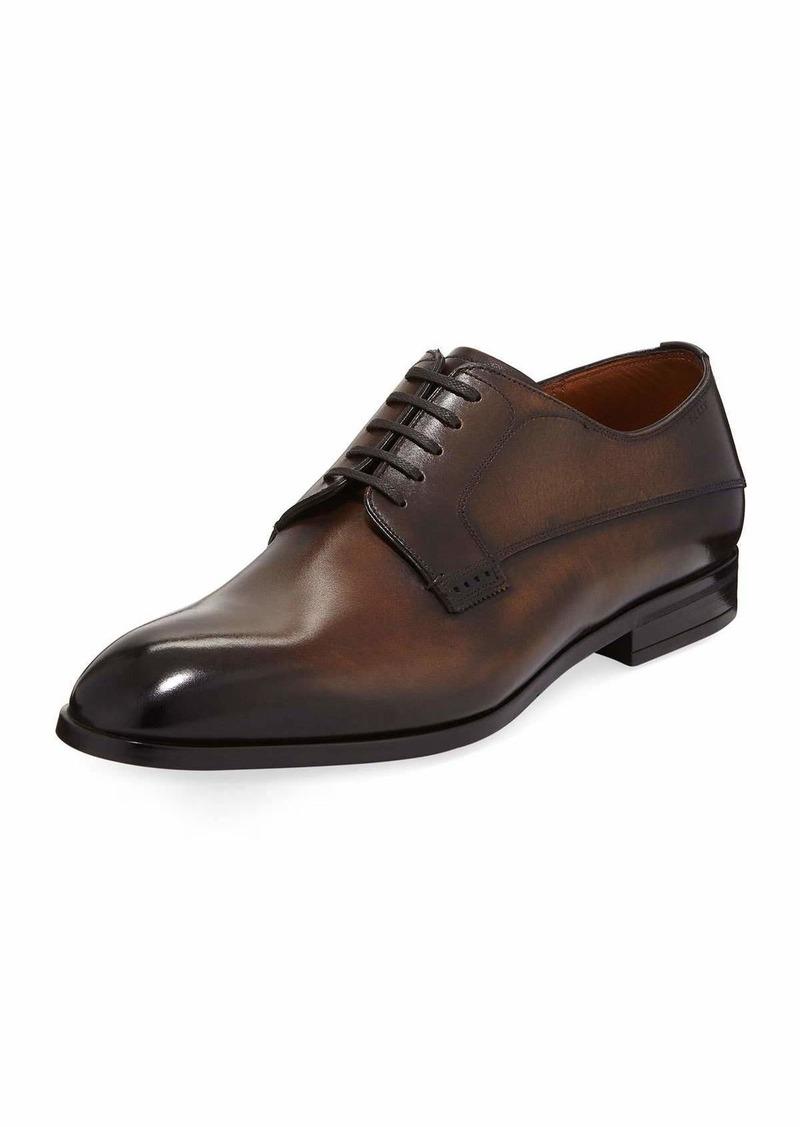 Bally Lantel Burnished Leather Lace-Up Derby Shoe