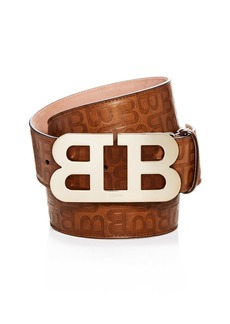 Bally Mirror B Buckle Embossed Leather Belt