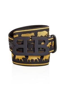 Bally Matte Mirror B Buckle Reversible Cow Print Belt