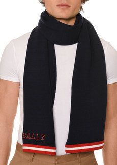 Bally Men's Contrast-Trim Wool Scarf with Logo