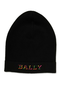 Bally Men's Rib-Knit Wool Beanie Hat with Neon Logo