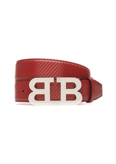 Bally Mirror B Buckle Carbon Leather Belt