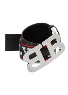 Bally Mirror B Canvas Leather Logo Belt